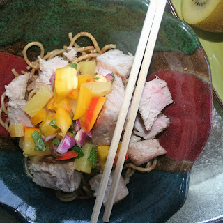 Grilled Ahi Tuna Sesame Noodle Bowls with Kiwi Pineapple Salsa