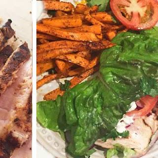 BBQ Chicken Lettuce Wrap with Goat Cheese and Sweet Potato Fries