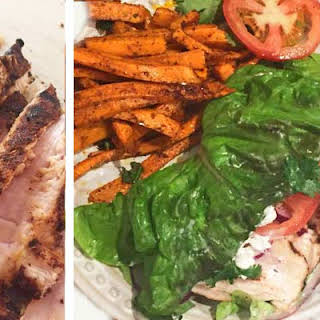 BBQ Chicken Lettuce Wrap with Goat Cheese and Sweet Potato Fries.