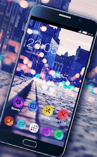 Stylish Romantic Theme: Neon Night Street Launcher- screenshot thumbnail