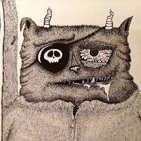 Monster by Ash Swetland - Drawing All Drawing ( horns, monster, cartoon, black and white, furry, drool, bloodshot, ink, hairy, pen, pen and ink, fuzz, detailed, fur, pirate )