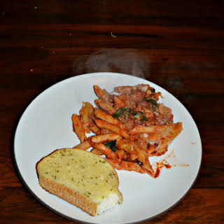 Baked Penne with Sausage and Spinach.