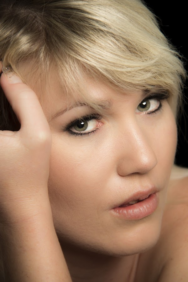 Platinum Blond 2 by Ruari Plint - People Portraits of Women ( green, blond, loving, pretty, portrait, eyes, looking, hand, female, platinum, dark, head, secy, deep, hair,  )