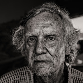 The Man in the Mirror - B&W by Garry Dosa - Black & White Portraits & People ( wrinkles, person, b&w, toned sepia, black & white, people, senior, portrait, man, aged,  )