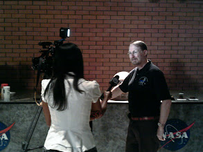 Photo: GRC Scientist, Mars expert, and award-winning sci-fi author Geoffrey Landis gets interviewed for television coverage