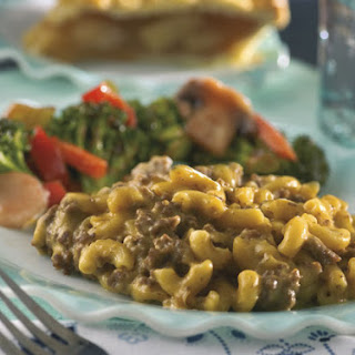 Cheesy Mac and Beef With Simple Stir-Fry Broccoli.