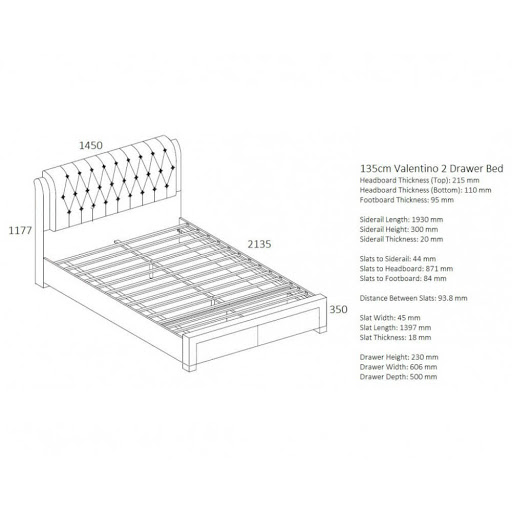 Birlea Valentino Bed Frame Dove Grey
