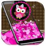 Lovely Owl Theme Pink Bow Owl Icon
