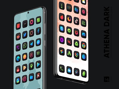 Athena Dark Icon Pack - Dark Squircle Icons 2.2 (Patched)