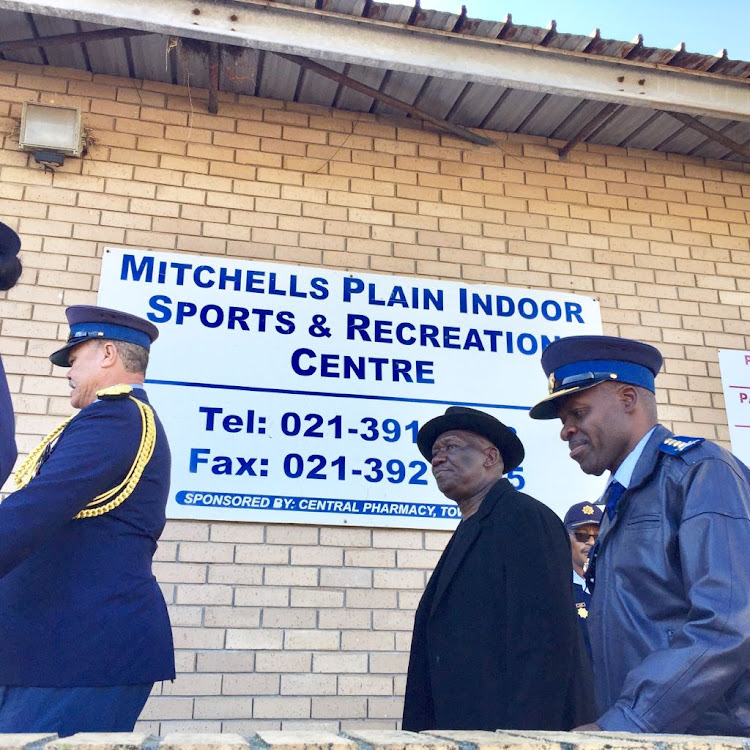 Police minister Bheki Cele in Mitchells Plain on May 15, 2018, with national commissioner General Khehla John Sitole.