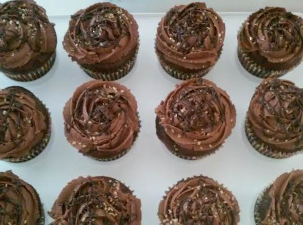 Chocolate Cupcakes, Custard Filled With Homemade Chocolate Frosting. I Added Gold Cake Sprinkles And Finished It With A Drizzle Of Melted Chocolate