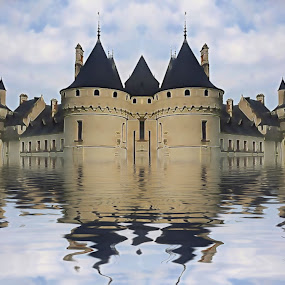 by Pam Blackstone - Illustration Sci Fi & Fantasy ( clouds, water, sky, castle, sci-fi, rerlection, palace )