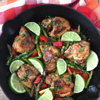 One Pan Cilantro Lime Chicken Thighs.