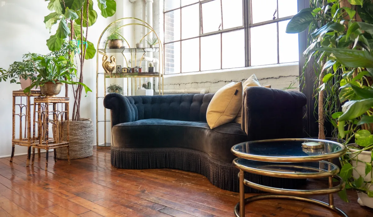 green and gold vintage loft in toronto