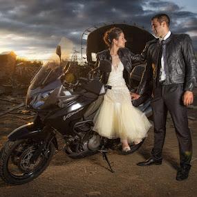 Rock Wedding by Bojan Dzodan - Wedding Bride & Groom ( love, wedding, motor, sunset, rock, couple, bride, groom )