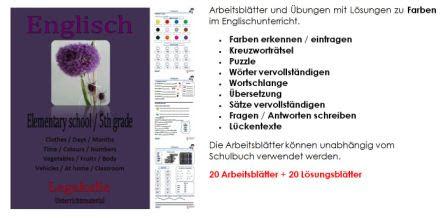 Colours Farben Englisch Grammatik Schularbeit Schulaufgabe
