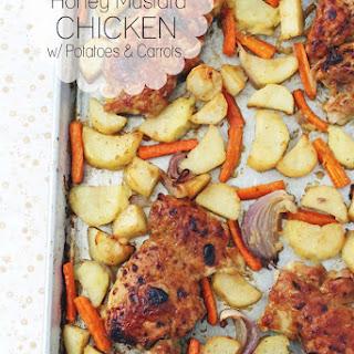 Sheet Pan Honey Mustard Chicken Thighs w/ Potatoes & Carrots