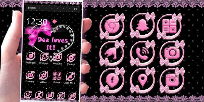 Pink bow Theme love Heart - screenshot