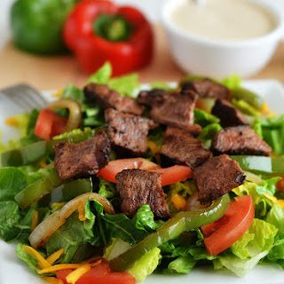 Steak Fajita Salad with Chipotle Ranch Dressing.