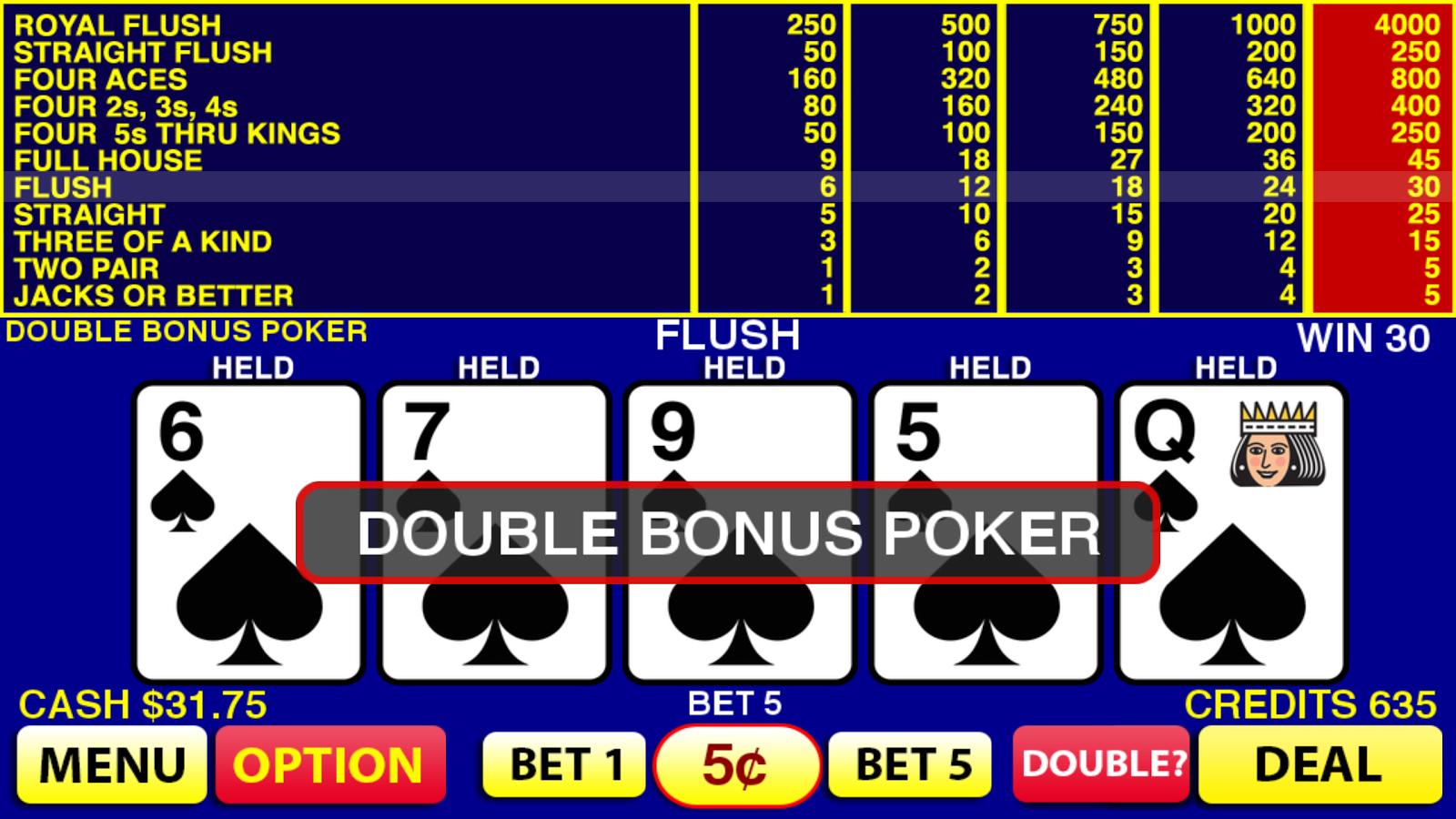 Double double bonus poker strategy trainer