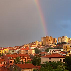 Rainbow by Elvis Pažin - City,  Street & Park  Vistas ( istra, colorful, croatia, weather, rainbow, pula )