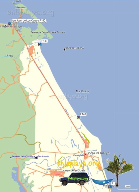 Mapa de Playas del Sector San Juan de Los Cayos