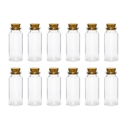 12-pack små glasburkar med korklock