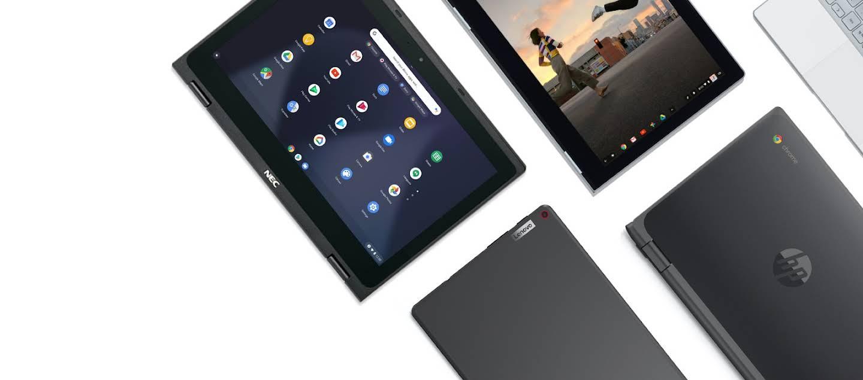 美しく並べられた Chromebook のノートパソコンとタブレット。さまざまな形状、サイズ、価格が用意されています。