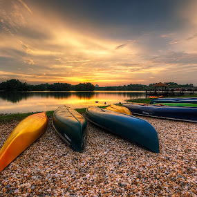 The Dusk At The Lakeside by Mohd Tarmudi - Landscapes Sunsets & Sunrises ( putrajaya wetland )