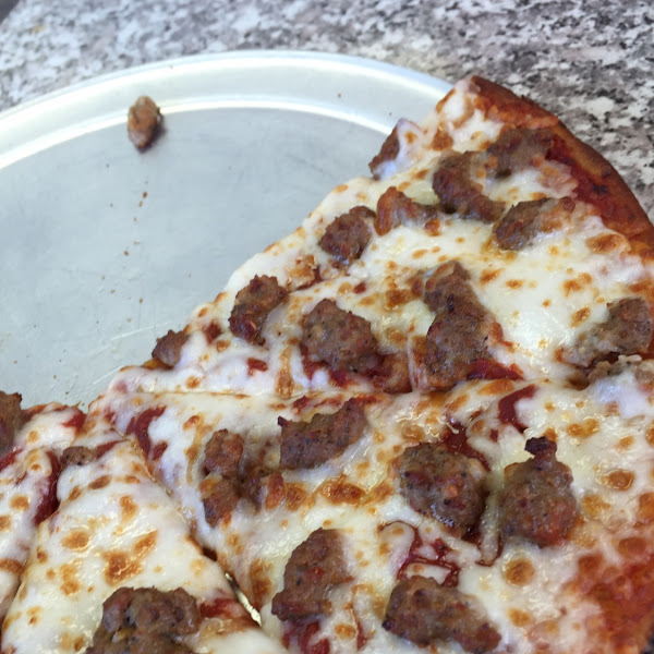 The sausage GF pizza