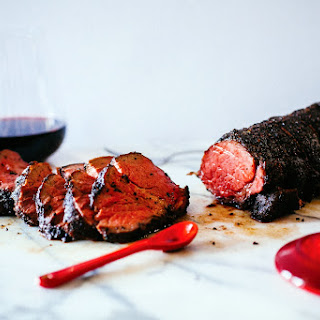 Coffee Crusted Beef Tenderloin with Red Wine Jus courtesy of Le Creuset