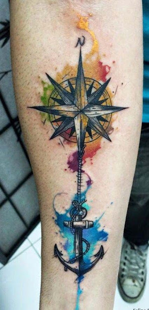 Best watercolor Nautical Star Tattoos Designs on wrist