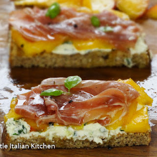 Peach, Parma ham and cheese bruschetta.
