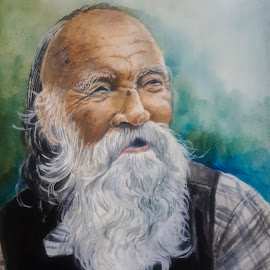 The Ancient One by Alfonso Rahardja - Painting All Painting ( watercolor portrait, watercolor, watercolor pencil, portrait painting, portrait )