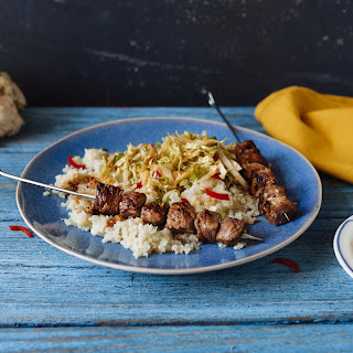 Teriyaki steak skewers with chopped green Asian salad & cauliflower rice