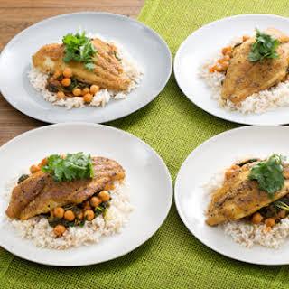 Crispy Curried Catfish with Chana Masala & Brown Rice.