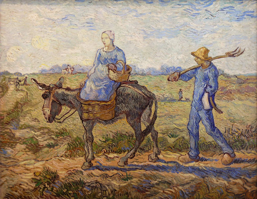 "van-gogh-morning-going-out-to-work.jpg -  Vincent van Gogh, ""Morning: Going Out to Work (After Millet),"" 1890, oil on canvas, at the Hermitage at St. Petersburg, Russia."
