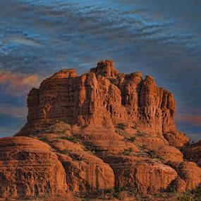 Bell Rock by Kim Wilson - Landscapes Weather ( orange, spiritual blue, exterior, bell rock, rock, red rocks, morning, landscape. day, pwcfoulweather-dq, vortex, landmark, horizontal, outdoor, arizona, sunrise, sedona, outside, formation )