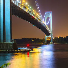 Verrazono bridge at night by Rusty Goris - Buildings & Architecture Bridges & Suspended Structures ( verrazano, staten island, night photography, night scene, nyc, bridges, brooklyn,  )