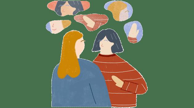 Két ember beszélgetése, részletfelhőkre bontva – kezek, orrok és szájak repkednek körülöttük, ami azt az emberi képességet képviseli, hogy egyszerre sok apróságot tudunk elemezni.