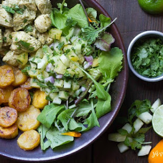 Cuban Chicken Bowl (with Habanero Plantains and Pineapple Cucumber Salsa) Recipe