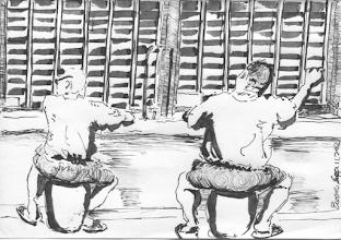Photo: 迫不及待2012.09.11鋼筆 鐵門快快開 親人坐進來 分秒皆思念 迫切不及待