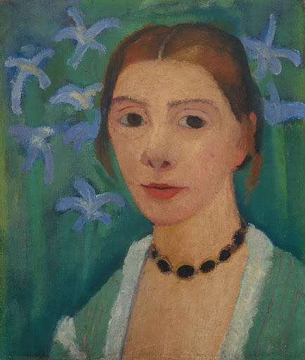 Self-Portrait before a Green Background with Blue Iris