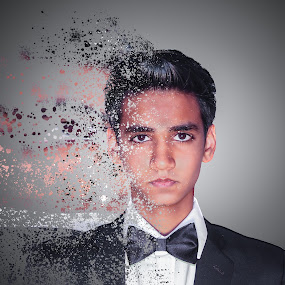 Dispersion  by Ravi Patel - People Portraits of Men ( gray background, tuxedo, creative, dispersion, self portrait, gary fong, selfie )