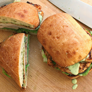 Peruvian-Style Grilled Chicken Sandwiches With Spicy Green Sauce.