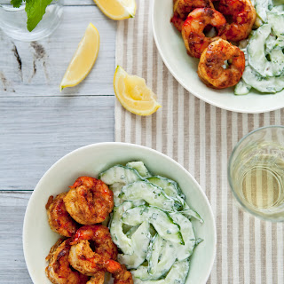 Spicy Curry Grilled Shrimp with Cucumber Salad