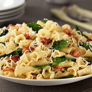 Campanelle with Spinach & Bacon.