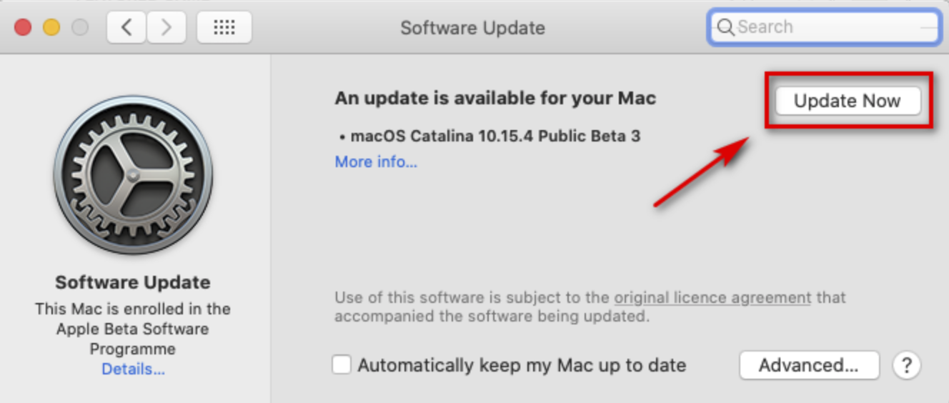 Update Now button and wait until the new version is installed