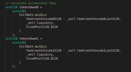 Code block for fee calculation (i)