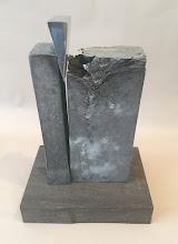 Photo: Wedge 4 - 7X11X6 Lost Foam Aluminum Casting, Highly-Polished Aluminum Wedge, Ipe base,